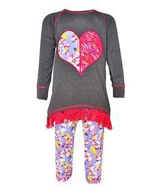 Black & Pink Heart Tunic & Leggings - Infant, Toddler & Girls #zulily #zulilyfinds