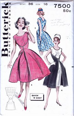 """Butterick 7500; ca. 1955; Quick N Easy One Piece Wrap Dress. Here's the smartest idea of the year... a dress that wraps from back to front for sheath-and-overskirt look. Binding finishes the edges. It's the most comfortable dress you've ever owned. From the style, age and pattern description, it appears that this is another """"incarnation"""" of the highly sought after """"walk away dress"""" Butterick 6015."""