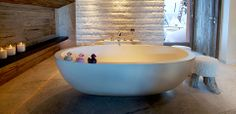 Castello luxury oval Oceanus bath at Richard Bransons Lodge in Verbier, Switzerland