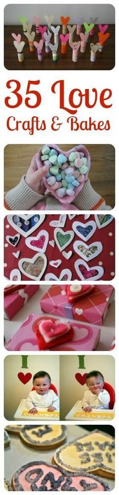 """Love """"Love Crafts"""" - wonderful Valentine's Day Crafts for Kids and grown ups. Love how sweet all these Valentine's Day Bakes and Makes are! #valentines #valentinesday #valentinesdaygift #valentinesdaykids"""