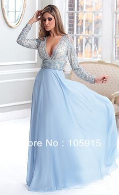 2013 Sexy Light Blue Long Beads And Sequins Mother of the Bride Dresses With Long Sleeves Evening Dresses Chiffon  LR-02 US $140.00