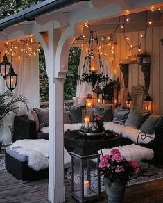 Christmas lights are a staple when it comes to holiday decor. Whether hung on the house, strung up in your room, or wrapped around the tree, these lights bring Outdoor Rooms, Outdoor Living, Outdoor Decor, Outdoor Ideas, Patio Interior, Backyard Patio Designs, Online Furniture Stores, Furniture Shopping, Porch Decorating