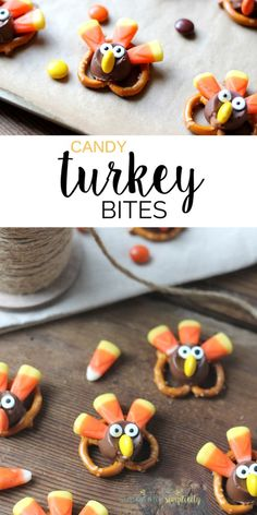 These Candy Pretzel Turkey Bites are a tasty and adorable treat. The perfect easy dessert idea for your Thanksgiving party or celebration!