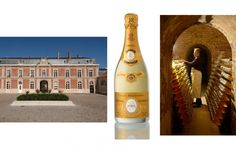 The Louis Roderer estate in Reims, France; a 2005 bottle of Cristal; and the Cristal cellars via www.LuxeCrush.com