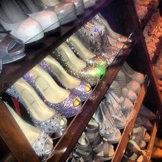 """""""And a little bit of glitz and glam""""... Take a look at Kim Kardashian's massive shoe collection! See how many YSLs, Guccis, Giuseppe Zanottis and Louboutins she has!"""