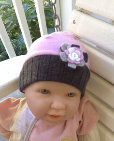 Newborn upcycled lavender merino wool hat with flower on Etsy, $10.00