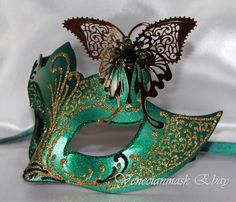 Elegant mask, masquerade mask,HANDMADE IN VENICE butterfly green and gold mask, in Clothing, Shoes & Accessories, Costumes, Reenactment, Theater, Accessories | eBay