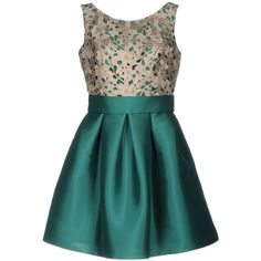 Moncho Heredia Short Dress (435 CAD) ❤ liked on Polyvore featuring dresses, dark green, short dresses, dark green lace dress, sleeveless dress, short green dress and lace swing dress