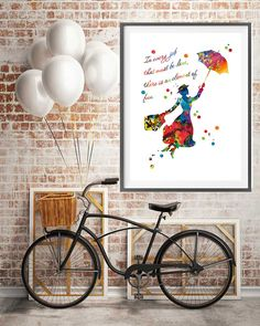 Mary Poppins watercolor Print by MimiPrints