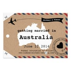Australia Airmail Luggage Tag Save the Date by Designkandy, as low as $1.35 each for 100