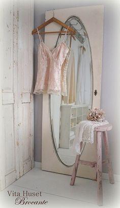 I just got a vintage mirrored closet door for my kitchen.