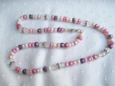 Perlencollier Süsswasserperlen rosa Töne von glastropfen´s Kreativwerkstatt auf DaWanda.com