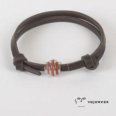 VujuWear Stainless Steel Barrel Bead Men's Leather bracelet, $18.99 ~~~ SHOP NOW FOR 30% OFF OUR ENTIRE COLLECTION. USE CODE VUJUPN30. ~ VujuWear