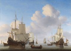 Willem van de Velde II - Dutch men-o'-war and other shipping in a calm - Marine (schilderkunst) - Wikipedia
