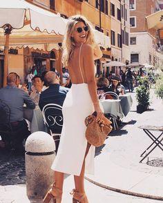 Natasha Oakley Summer Street Style Backless Open Back White Slit Midi Dress