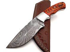 Full Tang Damascus Hunting Knife Skinning Knife, Damascus Steel, Hunting Knives, Curves, Hobbies, Leather, Full Figured, Curvy Women