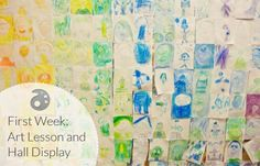Self-Portrait-Display- 4x6 self portraits. no instructions. color groups by tables, so you can only use the colors at your table, so you get a little vocab in. great pre-assessment to have a self portrait drawn w/ no instruction. talk about sometimes we have choices and sometime less choices in art room, etc.