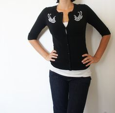 Punk rock Tattoo rockabilly style cardigan with swallows