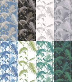 Les différentes teintes du papier peint Palm Leaves, Cole and Son. Palm Wallpaper, Cole And Son Wallpaper, Interior Wallpaper, Tropical Wallpaper, Modern Wallpaper, Deco Jungle, Accent Walls In Living Room, Inspirational Wallpapers, Diy Home