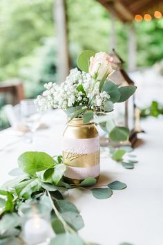 Lacey & Jim's rustic Missouri wedding was one for the books! Be ready for lots of greenery, navy suits, blush dresses, and a beautiful bride and groom. Rose Gold Centerpiece, Eucalyptus Centerpiece, Wedding Centerpieces Mason Jars, Centerpiece Ideas, Gold Mason Jars, Mason Jar Flowers, Painted Mason Jars, Fall Wedding, Rustic Wedding