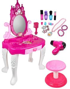 Kiddie Play Pretend Play Kids Vanity Table and Chair Beauty Play Set with Fashion & Makeup Accessories for Girls. The Kiddie Play little princess vanity table and accessories gives your little princess everything she needs to stylize her look. Little Girl Vanity, Little Girl Toys, Toys For Girls, Kids Toys, Little Girls, Kids Girls, Girls Vanity Table, Vanity Tables, Makeup For Sale