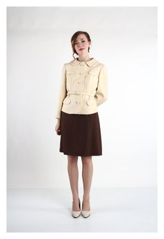 60s Knit Two Piece Wool Jacket and Dress . COFFE & CREAM \\ VeraVague //