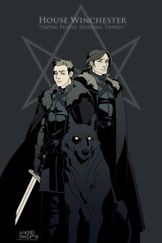 Game of Thrones + Supernatural = Awesome fan art! Game of Thrones and SPN crossover AU by Wkndship. Supernatural Fans, Supernatural Drawings, Supernatural Cartoon, Destiel, Crossover, Superwholock, Fairy Tail, Nerdy, Fandoms