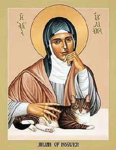 When I saw this portrait of Julian of Norwich and her cat in my freshman humanities class, I vowed that I will have it in my future home.