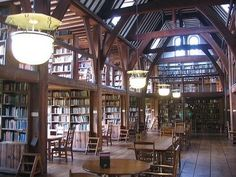 "Library at Bedales School  - motto:  ""Work of each for weal of all... """