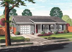 House Plan 74017 | Cottage Ranch Traditional Plan with 972 Sq. Ft., 2 Bedrooms, 1 Bathrooms, 1 Car Garage
