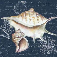Medium Sea Pictures, Painted Shells, Seashell Art, Nautical Art, Sea Art, Coastal Art, Decoupage Paper, Beach Crafts, Beach Scenes
