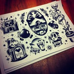 super mario tattoo flash