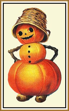 Halloween Pumpkin Person Counted Cross Stitch or Counted Needlepoint Pattern