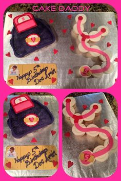 Doc Mcstuffins doctor bag and stethoscope cupcake cake.
