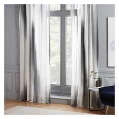 "West Elm Diffused Colorblock Curtain, Slate, 48""x108"" ($87) ❤ liked on Polyvore featuring home, home decor, window treatments, curtains, window drapery, tab top window treatments, rod pocket draperies, slate curtains and color-block curtains"