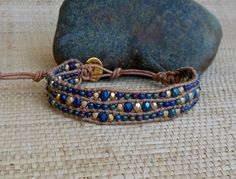 Beaded Leather Bracelet: Peacock Blues/Single Wrap Bracelet/One Wrap/Cuff/Layering Bracelet/Adjustable Bracelet/Gift for Her/OOAK by DevaOriginalBracelet on Etsy