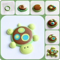 Idea for decorating a turtle cookie like this instead of making it as a cupcake decoration.