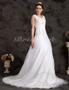 A-line Organza Chapel Train V-neck Plus Size Wedding Dress - $179.99
