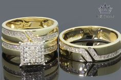 10kt Yellow Gold His Hers Men Woman 2.15 ct Diamonds Pave Wedding Ring Trio Set #beijojewels