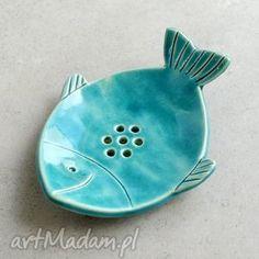 ceramiczna mydelniczka, ryba, łazienka, ceramika, morskie dom