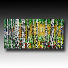 Birch Tree Painting Tree ART Abstract Palette Knife by bsasik, $199.00