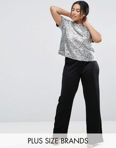 Club L Plus Straight Leg Jumpsuit With Sequin Top *** Check out the image by visiting the link.