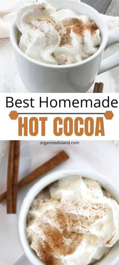 This easy homemade hot chocolate recipe is made in minutes and is the best cocoa recipe! Creamy and delicious! This easy homemade hot chocolate recipe is made in minutes and is the best cocoa recipe! Creamy and delicious! Best Hot Chocolate Recipes, Hot Cocoa Recipe, Cocoa Recipes, Homemade Hot Chocolate, Chocolate Desserts, Baking Chocolate, Chocolate Truffles, Chocolate Cake, Drinks Alcohol Recipes