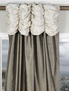 Ruched Valance Curtains Pearl White Header-Silver Grey Silk