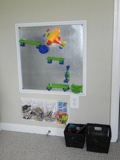 Use plastic shoe organizer to store magnets