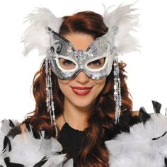 Snowflake Venetian Feather Mask