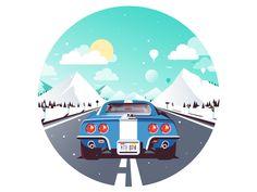 Corvette Road Trip designed by Paulius. Flat Design Illustration, Car Illustration, Illustration Styles, Design Illustrations, Flat Design Icons, Icon Design, Design Design, User Experience Design, Customer Experience
