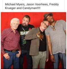 Michael Myers, Jason Voorhees, Freddy Krueger, and Candyman. Horror Movies Funny, Horror Movie Characters, Scary Movies, Scary Movie Memes, Classic Horror Movies, Comedy Movies, Jason Voorhees, Michael Myers, Happy Friday