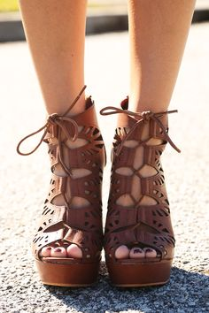 Figured You Out Wedges: Cherry Brown from Hope's Womens Boutique