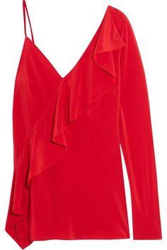 Diane von Furstenberg - One-shoulder Ruffled Silk Crepe De Chine Blouse - Red - US12